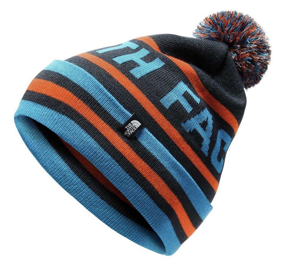 [ THE NORTH FACE ]  經典毛球滑雪保暖帽 藍/橘 / 公司貨 NF00CTH97VM