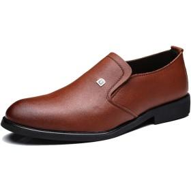 [トーフォズ] レザーシューズ 紳士靴 ビジネスシューズ 通気性 メンズ スリップオン 防滑 大きいサイズ 合皮 通勤 結婚式 耐摩耗性 フォーマル 軽量 ブラウン 26.0cm 0D0H52