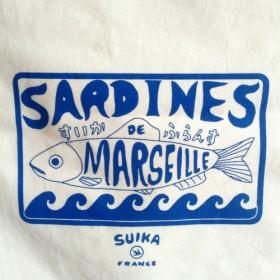 トートバッグ / エコバッグ ★南仏より 'Sardine de Marseille' ブルー SuikaFrance