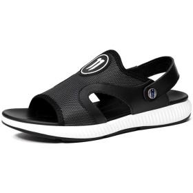 [LuckyDays-JP] メンズ サンダル ビーサン 登山サンダル 2種履き方 フラット コンフォート 大きいサイズ 夏用 軽量 紳士用 カジュアル 靴 ファッション シンプル 歩きやすい 防滑 防臭 快適 旅行 ブラック