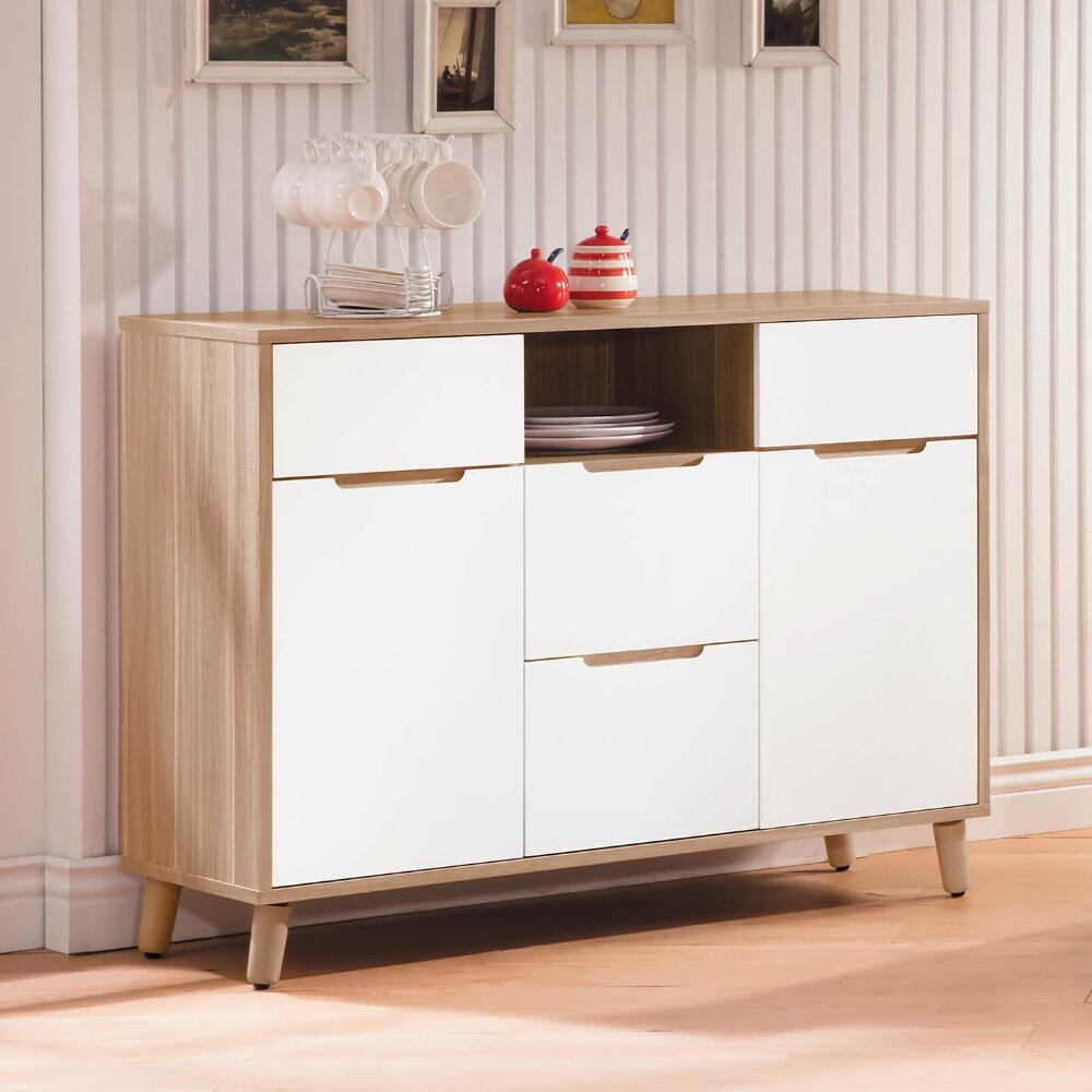 muna肯詩特烤白雙色3.6尺餐櫃