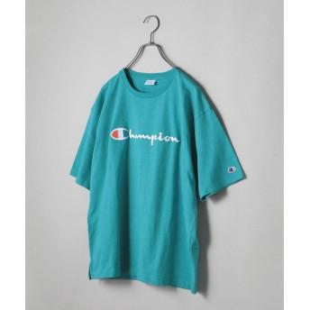 【30%OFF】 シップス SHIPS JET BLUE×Champion: 別注 ヘビーウエイト リラックス 刺繍ロゴTシャツ メンズ アクア SMALL 【SHIPS】 【セール開催中】