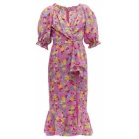 サローニ Saloni レディース ワンピース ワンピース・ドレス Olivia lemon-print silk-crepe midi dress pink