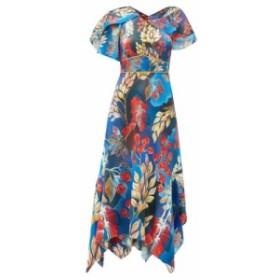 ピーター ピロット Peter Pilotto レディース ワンピース ワンピース・ドレス Cape-sleeve floral-print silk midi dress blue