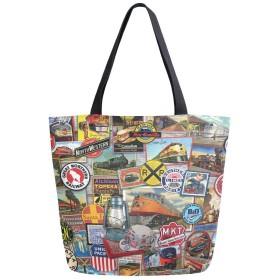 トートバッグ 面白いロゴ 綴りの図案 切手 キャンバスバッグ レディース 大容量 2way 帆布 サブバッグ 多機能バッグ
