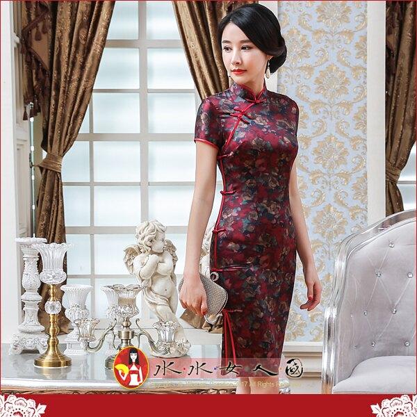 【水水女人國】~清新綠意旗袍風~深魅。復古仿香雲紗印花改良式時尚優雅修身短袖短旗袍