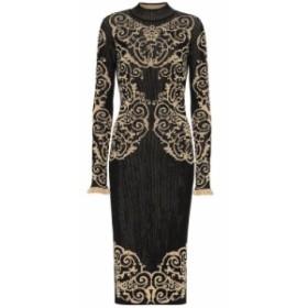 フェンディ Fendi レディース ワンピース ワンピース・ドレス Ribbed-knit midi dress Black