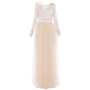 《セール開催中》ELISABETTA FRANCHI レディース ロングワンピース&ドレス ベージュ 44 キュプラ 92% / ポリウレタン 8% / ナイロン