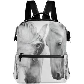 リュック レディース メンズ 軽量 大容量 馬 純白 カップル ファスナー リュックサック pc ipad 収納 高校生 中学生 子供 旅行 山登り 遠足 アウトドア 短期出張 バッグ
