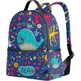 VAWA リュックサック 高校生 女子 大容量 海洋 ヒトデ 魚柄 心柄 カラフル おしゃれ きれい リュック レディース おしゃれ デイパック アウトドア 軽量 防水 通勤 通学 旅行 プレゼント用