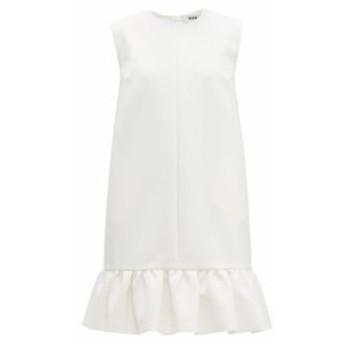 エムエスジーエム MSGM レディース ワンピース ワンピース・ドレス Ruffled-hem crepe mini dress white