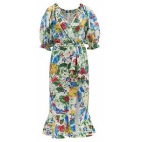 サローニ Saloni レディース ワンピース ワンピース・ドレス Olivia floral-print silk crepe de Chine midi dress multicoloured