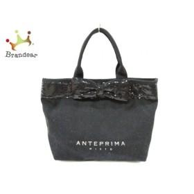 アンテプリマミスト ANTEPRIMA MISTO トートバッグ 黒 リボン キャンバス×スパンコール  値下げ 20191013