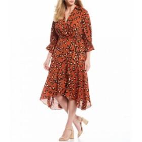 タハリ Tahari ASL レディース ワンピース ワンピース・ドレス Plus Size Leopard Print 3/4 Peasant Sleeve Faux Wrap Midi Dress Spice