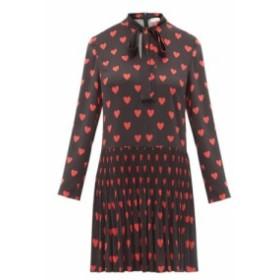 レッド ヴァレンティノ REDValentino レディース ワンピース ワンピース・ドレス Heart-print pussy-bow crepe dress black