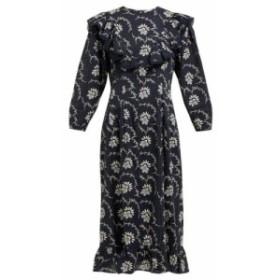 シー Sea レディース ワンピース ワンピース・ドレス Tatiana floral-print cotton midi dress navy