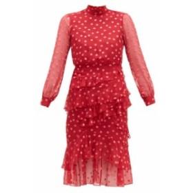 サローニ Saloni レディース ワンピース ワンピース・ドレス Isa polka-dot devore silk-blend chiffon dress red