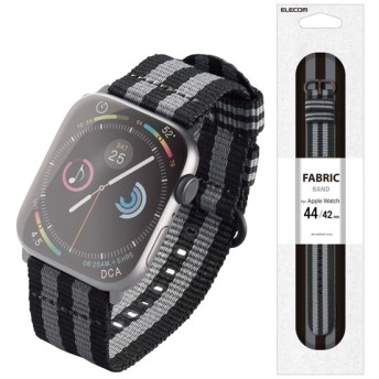 ELECOM AW-44BDNATSJB ボンドストライプ(ブラック×グレー) [アップルウォッチ バンド NATOベルト 44/42mm (Apple Watch series 1/2/3/4)] ケース・カバー