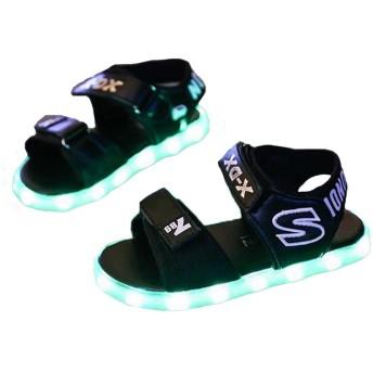 FADVES LEDサンダル キッズサンダル 子供サンダル 発光靴 発光シューズ 子供靴 7色 光る靴 USB充電式 光るサンダル ライトシューズ マジックテープ 通気 滑り止め 男の子 女の子(21.3cm、ブラック)