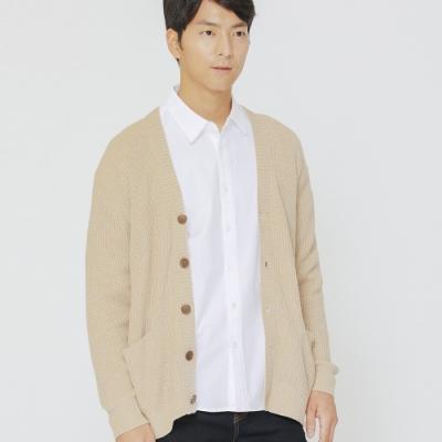 H:CONNECT 韓國品牌 男裝-排釦口袋針織外套-卡其(快)