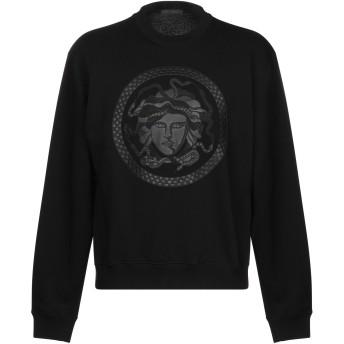 《9/20まで! 限定セール開催中》VERSACE メンズ スウェットシャツ ブラック S コットン 80% / ポリウレタン 20% / ポリエステル / ナイロン