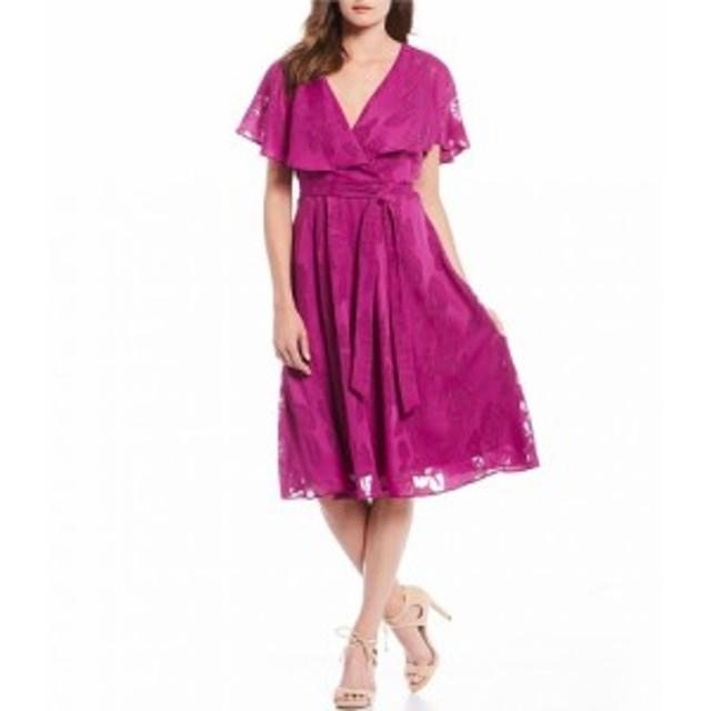 メゾンタラ Maison Tara レディース パーティードレス ワンピース・ドレス Capelet Burnout Chiffon Midi Dress Amethyst