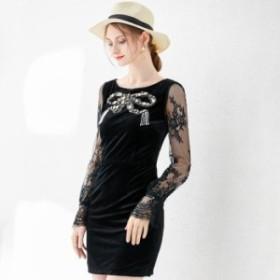 ワンピース 送料無料 ベロアビジュービーズリボン肌透けレース長袖付きタイトラインミニワンピース♪ブラック 黒 お嬢様 大人 女優
