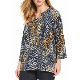 チェルシー&セオドア Chelsea & Theodore レディース チュニック トップス Plus Size Mixed Dot Cheetah Print Lace-up Tunic Animal Pri