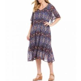 カレッサ Calessa レディース ワンピース ワンピース・ドレス Plus Size Deco Geometric Flutter Sleeve Midi Dress Cobalt Multi