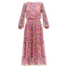 サローニ Saloni レディース ワンピース ワンピース・ドレス Isabel lemon-print silk-georgette dress pink