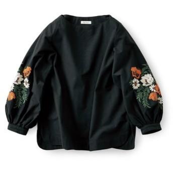袖にだけ刺しゅうトップス〈黒〉 and myera フェリシモ FELISSIMO【送料無料】