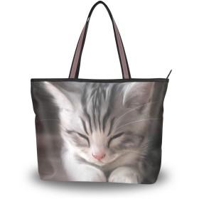 可愛い 猫柄 トートバッグ レディース a4 軽量 布 大容量 通勤 キャンバス ファスナー 2way 肩掛け 手提げバッグ おしゃれ 大きめ M L