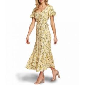 シーシー CeCe レディース パーティードレス ワンピース・ドレス Short Sleeve Floral Print Wrap Front Maxi Dress Turmeric Spice