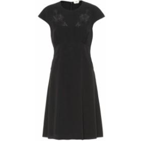 フェンディ Fendi レディース ワンピース ワンピース・ドレス Lace-trimmed crepe dress Black
