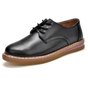 Nomioceレディースオックスフォードレディース革靴本革レザー通学通勤レースアップパンプスシューズ靴おじ靴ヒールカジュアル女性ブラック23.5センチメートル