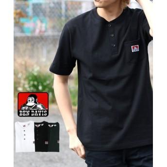 マルカワ ベンデイビス 無地 ヘンリーネック 半袖Tシャツ メンズ ブラック M 【MARUKAWA】
