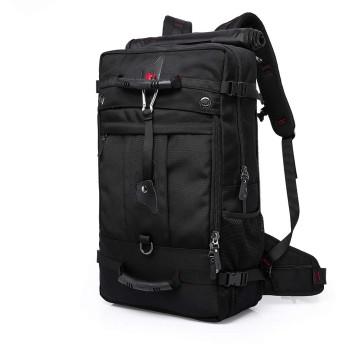 50Lハイキングバックパック、多機能カジュアルキャンプトレッキングリュックサックサイクリング旅行登山アウトドアスポーツデイパックバッグ 黒
