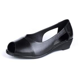 ローヒール サンダル 歩きやすい 疲れない ウェッジソール サンダル 大きいサイズ 春 ブラック 夏 厚底 痛くない ぺたんこ 柔らかい かわいい 美脚 オープントゥ 婦人靴 妊婦 25.0cm ママ 軽量 通気性 ナースシューズ 黒 26 26.5cm