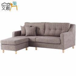 文創集 曼瑟 現代咖亞麻布L型沙發組合(三人座+椅凳)