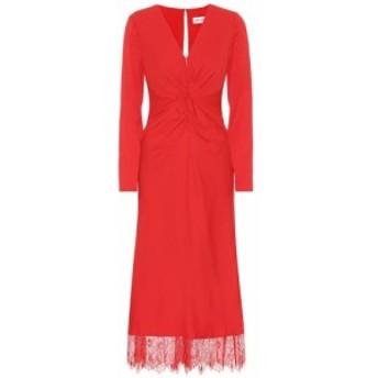 セルフ ポートレイト Self-Portrait レディース ワンピース ワンピース・ドレス Lace-trimmed crepe midi dress Dark Red
