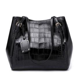 ShiMin ファッションハンドバッグ、女性のハンドバッグ、ソリッドカラー、ワニ柄、トートバッグ