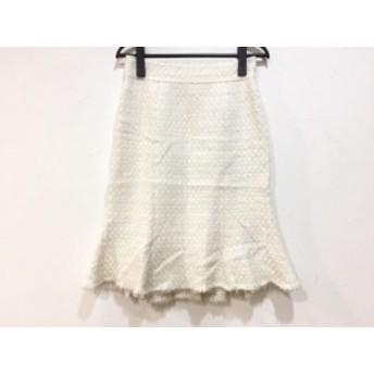 マテリア MATERIA スカート サイズ38 M レディース アイボリー×ベージュ ツイード/フリンジ/ラメ【中古】20190713