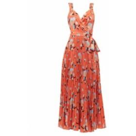 セルフ ポートレイト Self-portrait レディース ワンピース ワンピース・ドレス Floral-print crepe de Chine wrap dress orange