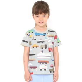 【グラニフ:トップス】キッズTシャツ/のりものいっぱいパターン(柳原良平マルチパターンショートスリーブティーB)