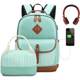 女性キャンバスバックパックスクールバッグ用女子大学校コンピュータバッグ用十代の若者たちフィット15.6インチラップトップブルー