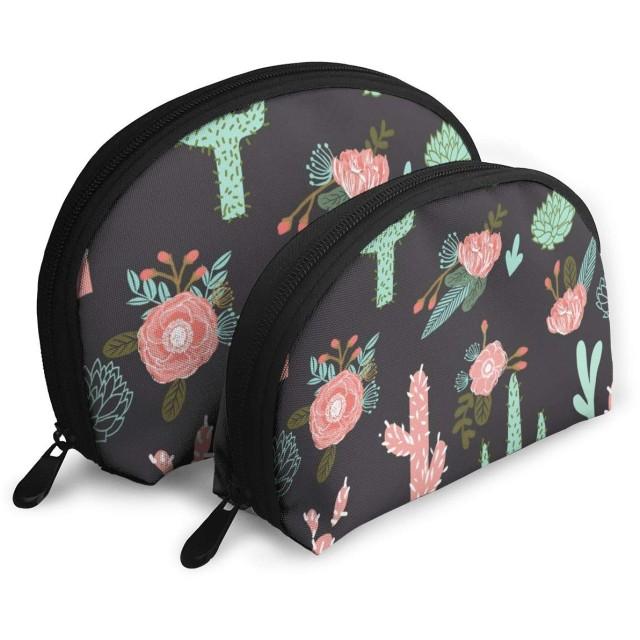 サボテンの花かわいいサボテンピンクミントサボテンと花サボテンの花2個/パックトイレタリーバッグ旅行空港に持ち歩く旅行シェル化粧収納バッグトイレタリーオーガナイザー用女性