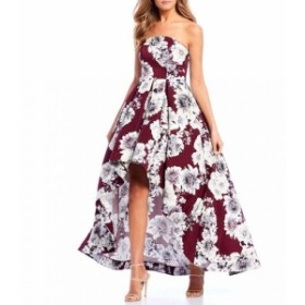 Xtraordinary レディース ワンピース ワンピース・ドレス Strapless Floral Print Satin High-Low Dress Wine/Grey