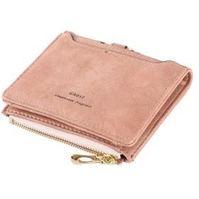 NewSoul 財布 ファスナー 二つ折り ウォレット メンズ コンパクト レディースショート二つ折りマネー財布 (ピンク)