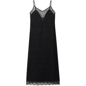 ELIN エリン 【予約販売】ベロアコンビ バックレーススリップドレス ブラック