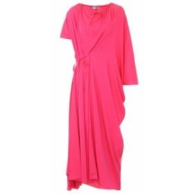 バレンシアガ Balenciaga レディース ワンピース ワンピース・ドレス Asymmetric crepe midi dress Fluo Pink